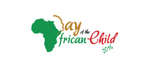 "The map of Afican is painted green with THE WORSL ""Day"" and ""Child"" in Red and the word ""of and African"" green in color"